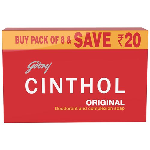 Cinthol Original Bath Soap – 99.9% Germ Protection, 100 g (Pack of 8)